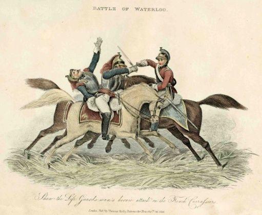 Cartoon of three soldiers in sword combat on horseback