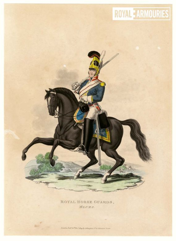 Cartoon of trooper of the Royal Horse Guards, astride a black horse with a cavalry sword