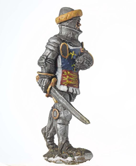 Miniature model of a soldier holding a sword.