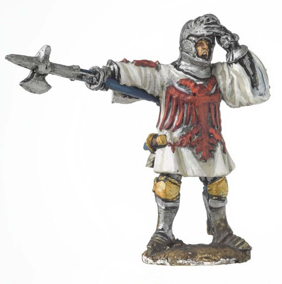 Miniature model of a man holding a pike