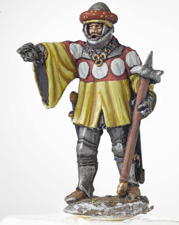 Miniature model of a soldier in yellow and red holding a pike