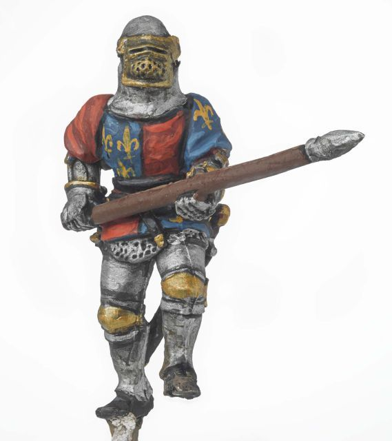 Miniature model of a soldier holding a lance