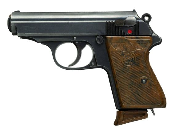 Pistol with with the The Reichsadler of Nazi Germany embossed on the grip.
