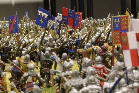 Close up of the miniature model of the Battle of Agincourt