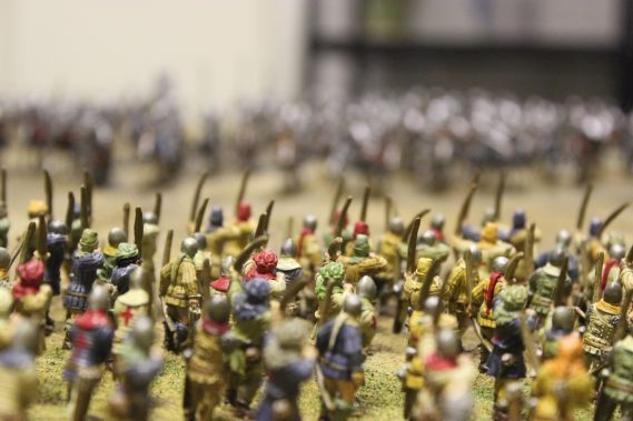 close up of miniature models of soldiers