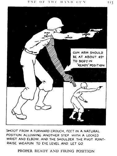 black and white illustration showing soldier shooting a gun