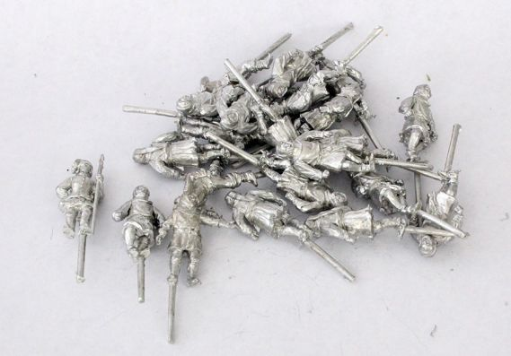 Metal castings of model soldiers with pegs