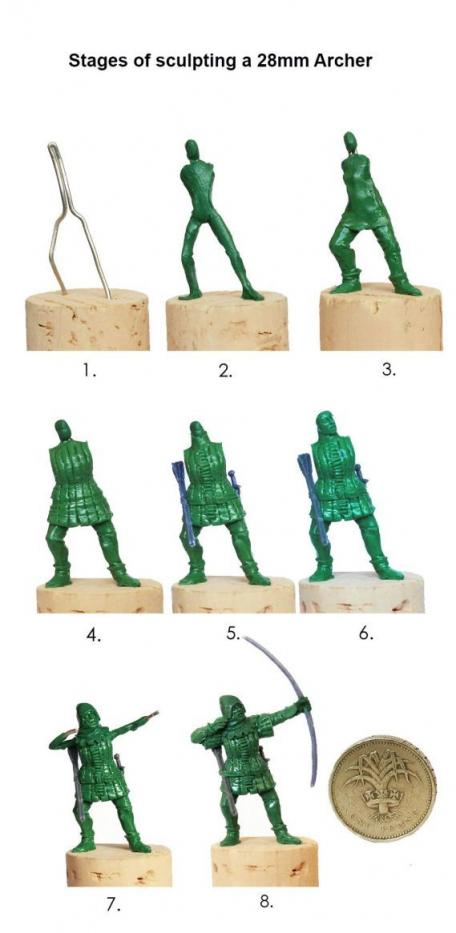 numbered stages of the process for sculpting a miniature model soldier
