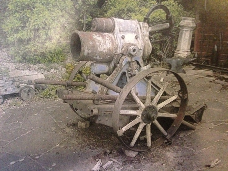 A badly corroded and neglected German 25 cm trench mortar