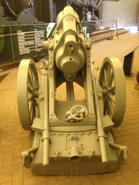Rear view of a fully conserved German 25 cm trench mortar