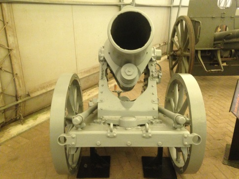 Front view of a fully conserved German 25 cm trench mortar