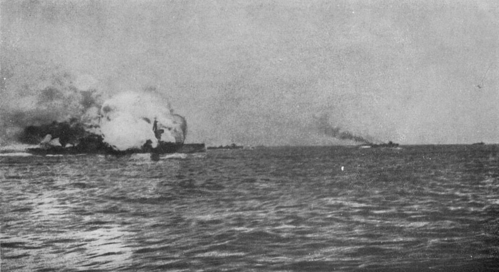 battleship exploding during a battle at sea during the first world war