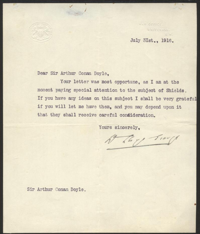 Letter to Conan Doyle from David Lloyd George