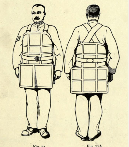 Drawing of man wearing experimental armour