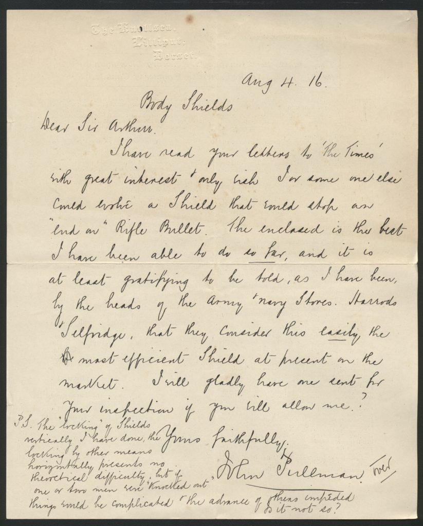 Letter to Conan Doyle from John Pullman