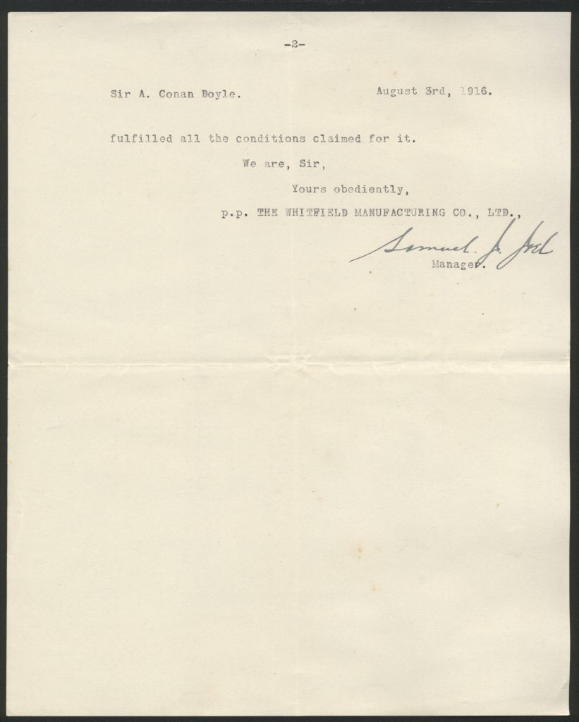 Leter to Conan Doyle from the Whitfiled Manufacturing company