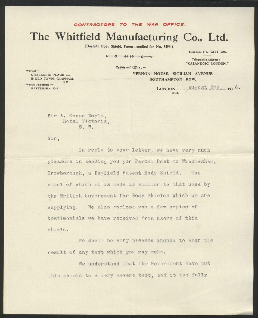 Letter to Conan Doyle from the Whitfiled Manufacturing company