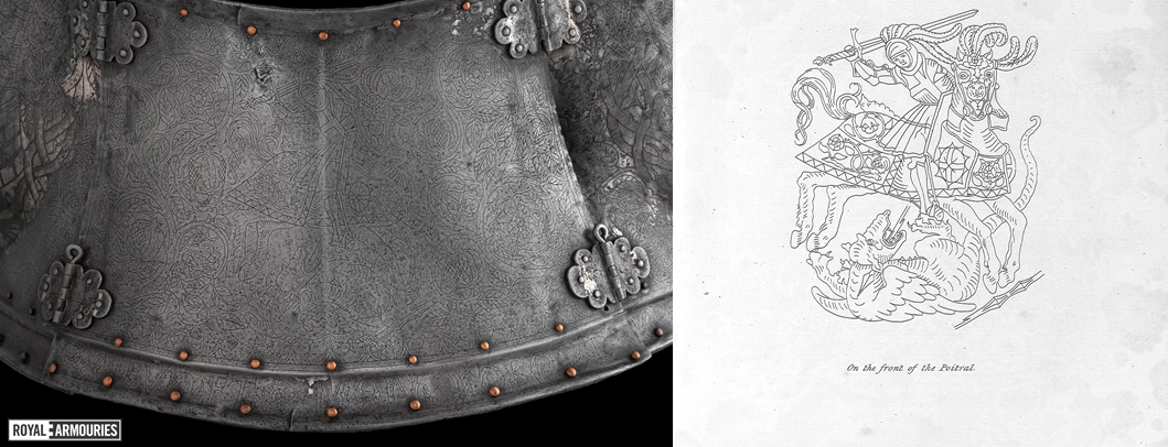 Horse armour engraved with St George and the Dragon shown with a drawing of the scene
