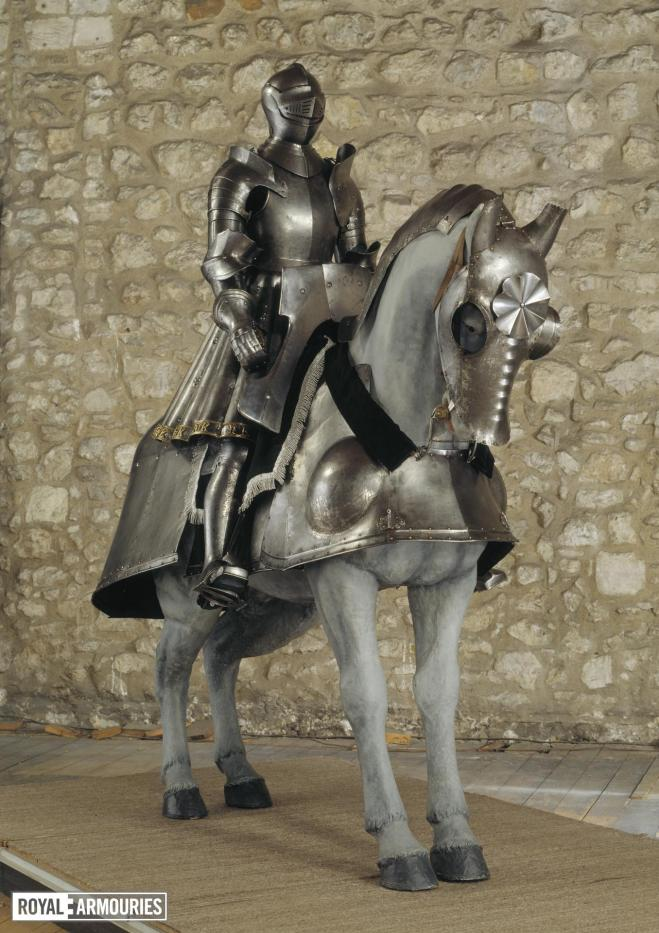 Armour for Henry VIII mounted on a horse, also wearing armour
