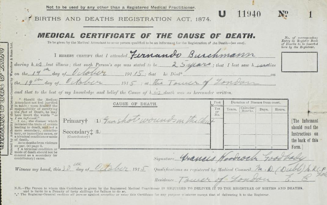 Buschmann's Death Certificate.