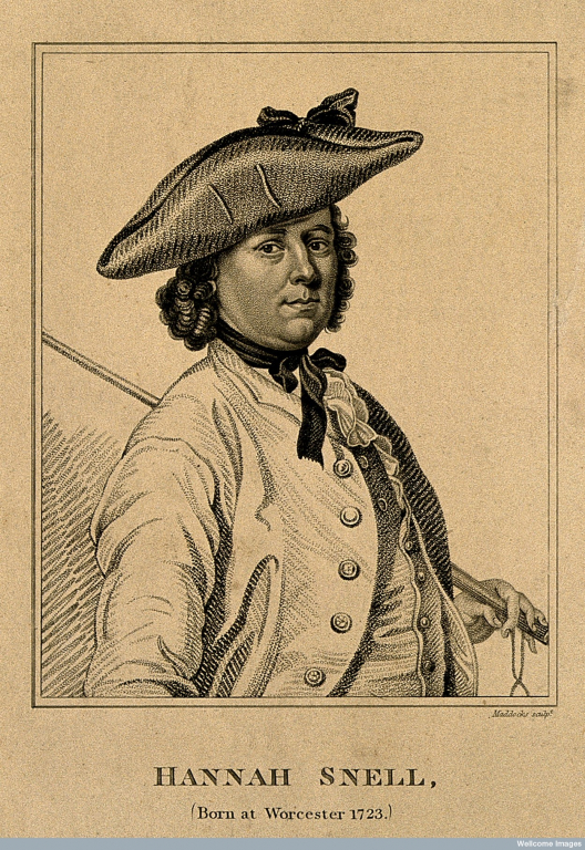 an 18th century woman dressed as a man in a tricorn hat