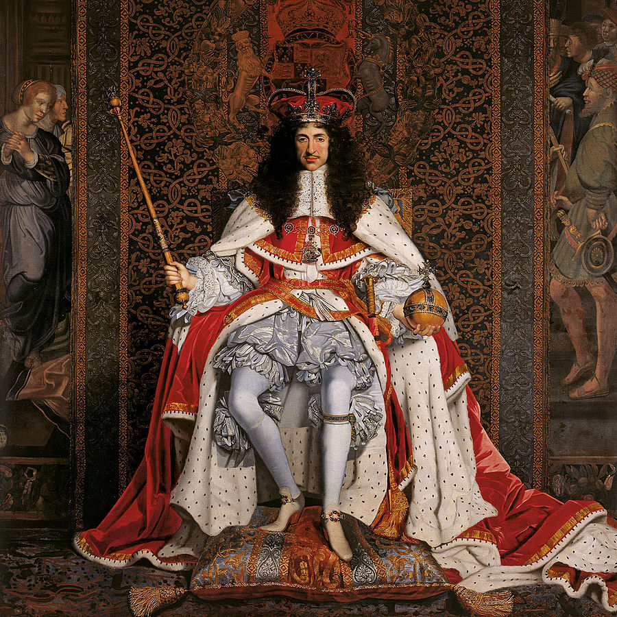 A king with long dark hair sits on a throne in stately robes and holding the orb and mace of state
