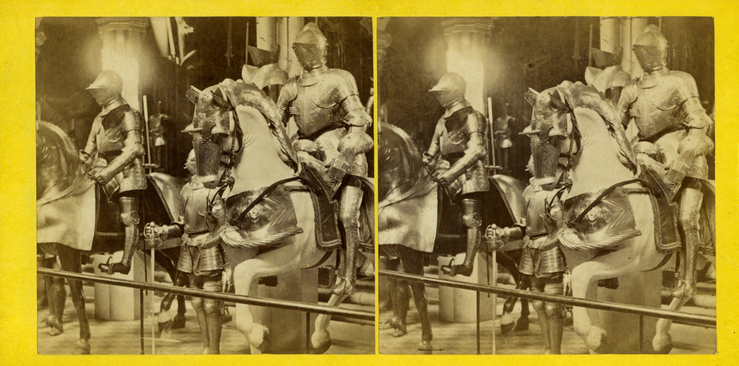 Stereoscopic image of two mounted armours on the North side of the Horse Armoury, about 1870.
