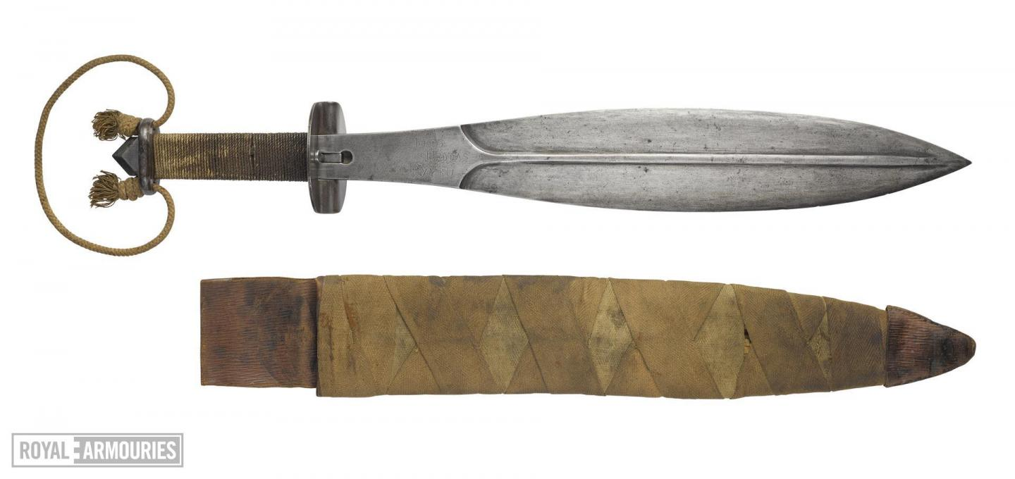 Leaf shaped knife and scabbard