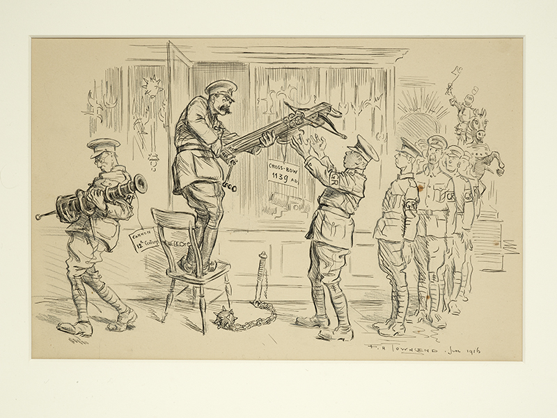 Cartoon of Lord Kitchener standing on a chair issuing weapons from the Tower of London