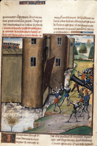 Illustrated manuscript of handguns in a siege.