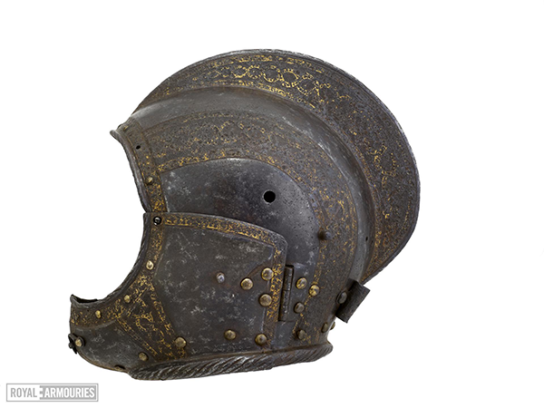 Helmet without a face piece decorated with gold