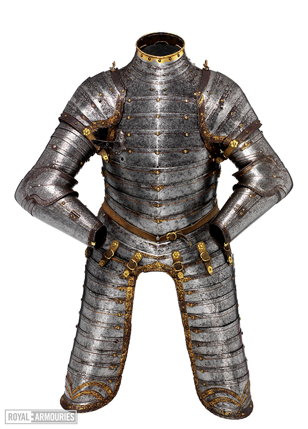 Articulating steel armour with bands of gold
