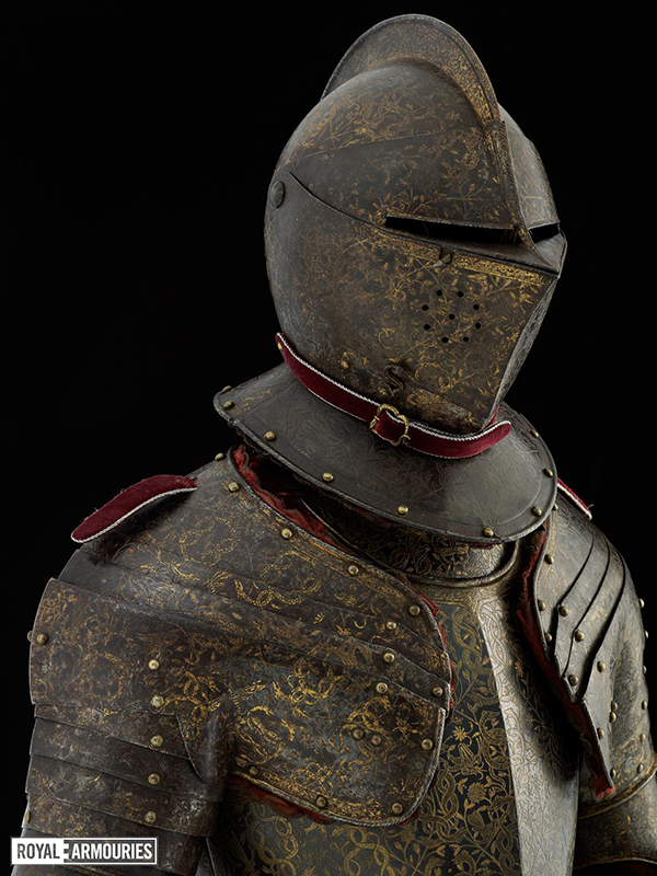 A blued and gilt decorated armour