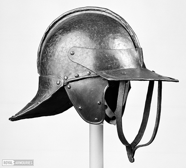 Side view of a English Civil War helmet