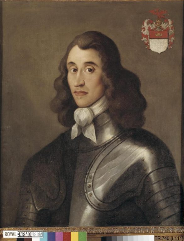 Portrait of man with long hair and a white cravat wearing a black armour