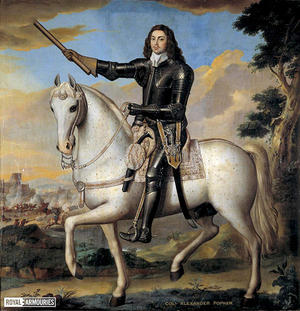English civil war commander with long black hair riding a grey horse while wearing a black armour