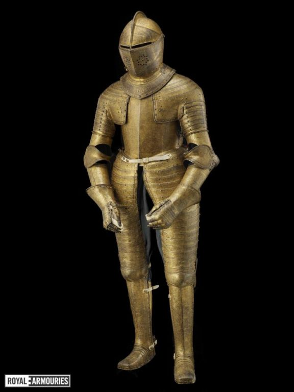 Suit of armour decorated in gold