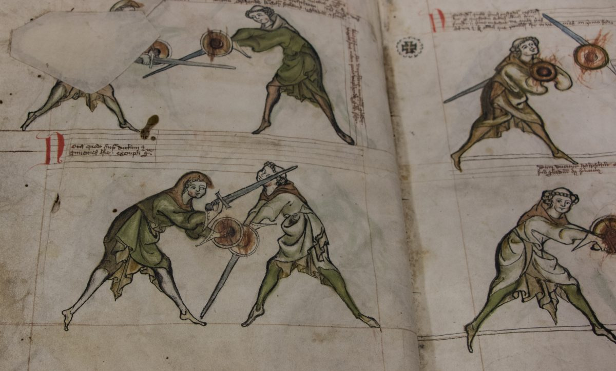 Two mages of the I.33 manuscript, showing the hand drawn illustrations of the priest and scholar fighting with sword and buckler