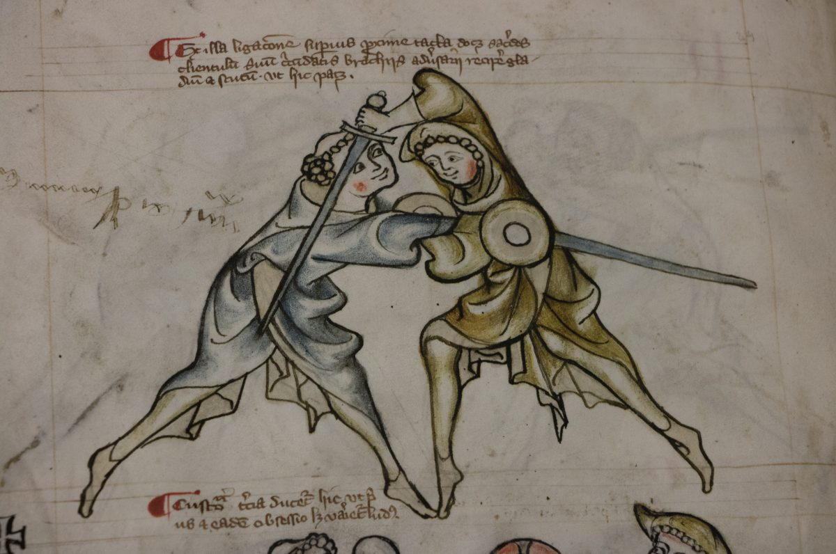 Illustration from I.33 of a priest and scholar engaged in a sword fight