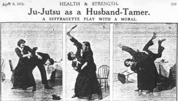 Three images of a fight sequence showing a woman disarming and throwing her husband