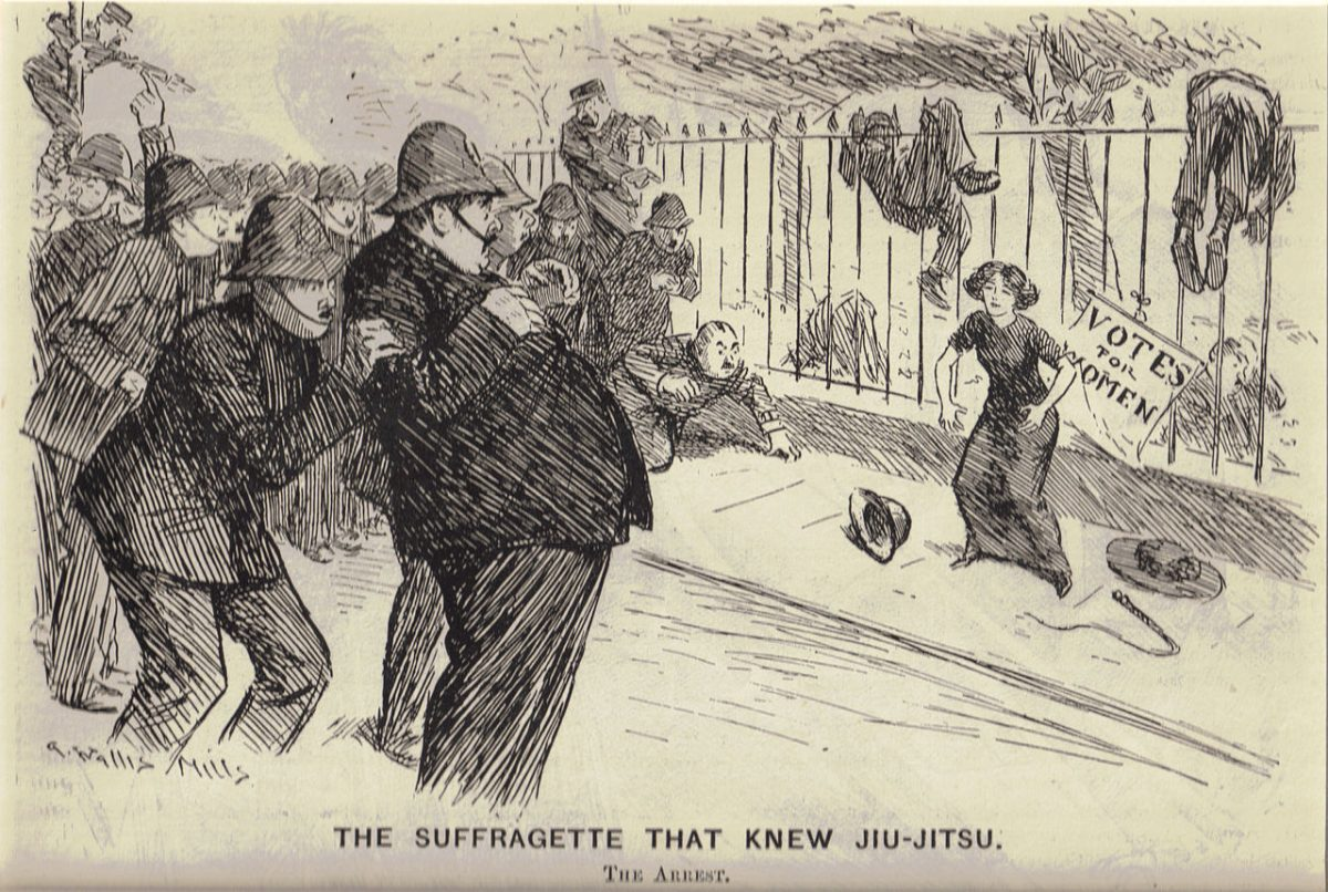 A woman preparing to fight a group of cowering policemen