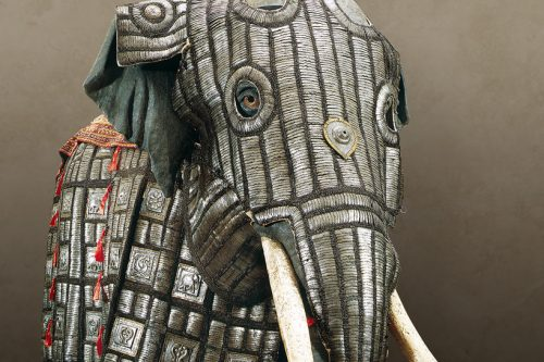 Head of elephant covered in armour