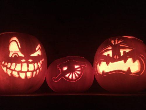 illuminated scary pumpkin lanterns