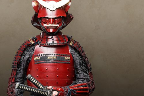 Warrior wearing a red lacquered Japanese armour