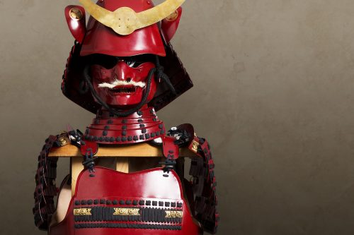 Red lacquered Japanese armour