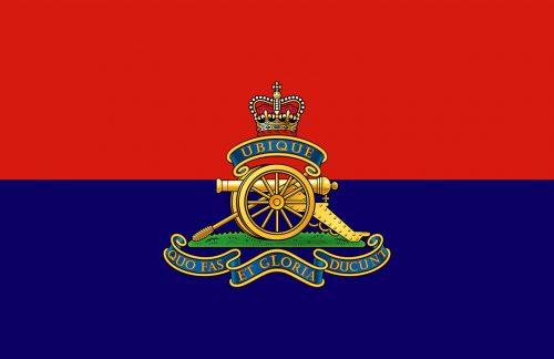 "Flag and crest of the Royal Artillery ""Ubique - Quo fas et Gloria ducunt"""