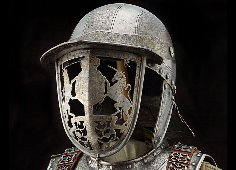 Helmet with pierced visor decorated with the personal arms of James I and VI