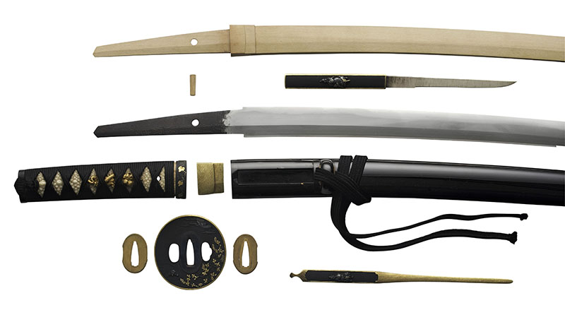 Japanese sword displayed with all of its component parts
