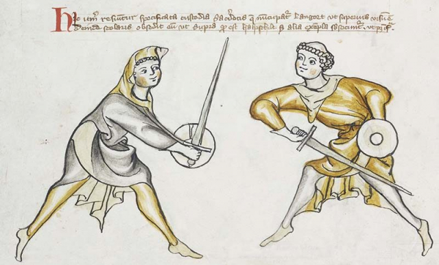 Detail of a manuscript showing a drawing of two people sword fighting
