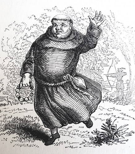 A jolly fat friar dancing through the woods holding a tambourine